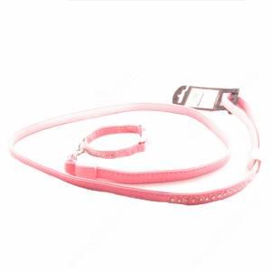 Комплект кожаный Ferplast Lux поводок + ошейник 120 см*1,2 см/19 см*1,2 см, розовый