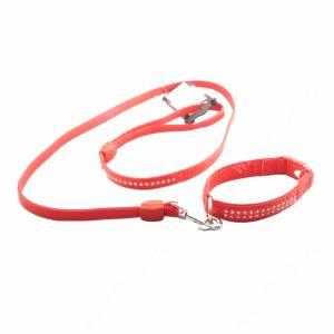Комплект кожаный Ferplast Lux поводок + ошейник 120 см*1,2 см/31 см*2 см, красный
