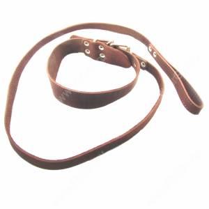 Комплект кожаный Лаурон поводок + ошейник 125 см*1,8 см/61 см*3,5 см, темно-коричневый