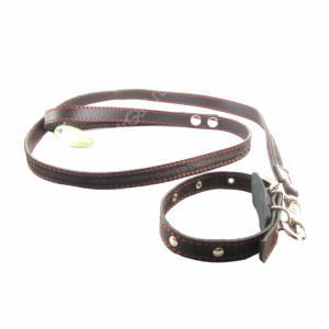 Комплект кожаный Лаурон поводок + ошейник 125 см*2 см/39 см*1,8 см, черный