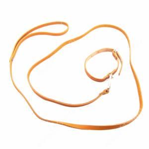 Комплект кожаный Лаурон поводок + ошейник 130 см*0,8 см/29 см*1,2 см, коричневый