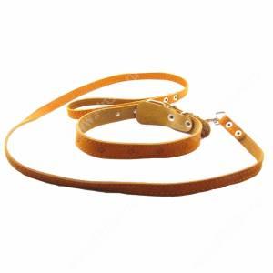 Комплект кожаный Лаурон поводок + ошейник 130 см*1,5 см/52 см*2,5 см, коричневый