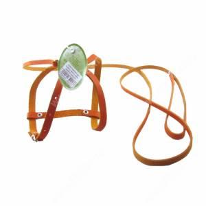 Комплект кожаный Лаурон поводок + шлейка 130 см*0,7 см/28, 22-31* 1 см, коричневый