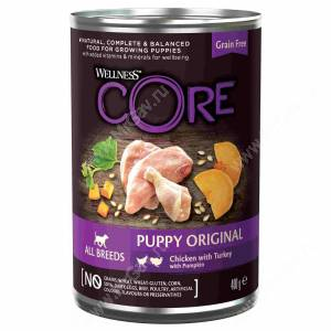 Консервы для щенков Wellness Core из курицы с индейкой и тыквой