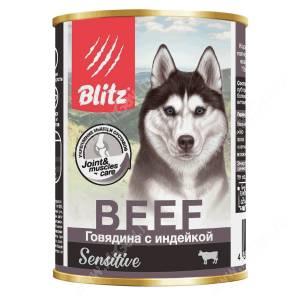 Консервы для собак Blitz говядина с индейкой, 0,4 кг