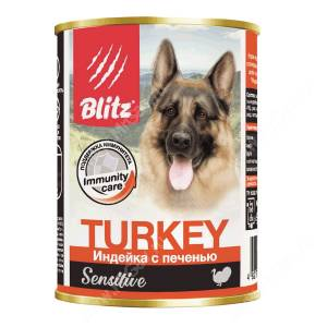 Консервы для собак Blitz индейка с печенью, 0,4 кг