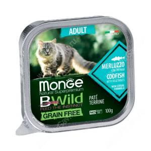 Консервы Monge Cat Bwild Grain Free для взрослых кошек (Треска)