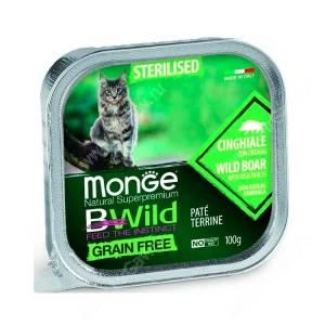 Консервы Monge Cat Bwild Grain Free для взрослых стерилизованных кошек (Кабан)