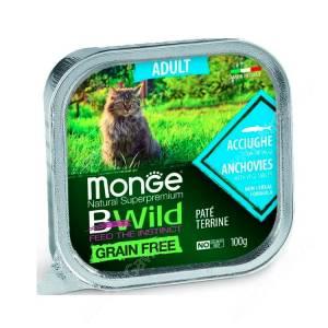 Консервы Monge Cat Bwild Grain Free для взрослых кошек (Анчоусы)