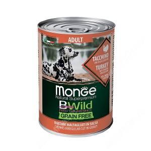 Консервы Monge Dog All Breeds Bwild Grain Free из индейки с тыквой и кабачками