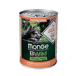 Консервы Monge Dog Junior Bwild Grain Free из утки с тыквой и кабачками, 400 г