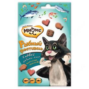 Лакомство для кошек Мнямс Рыбный фестиваль (Лосось, креветки, форель), 50 г