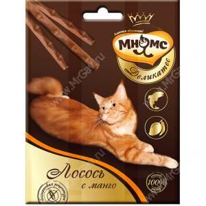 Лакомство Мнямс Деликатес палочки для кошек с лососем и манго, 3 шт.