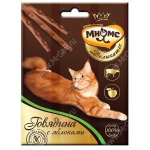 Лакомство Мнямс Деликатес палочки для кошек с говядиной и яблоком, 3 шт.