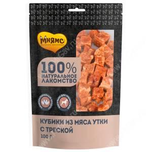 Лакомство Мнямс для собак кубики из мяса утки с треской, 100 г