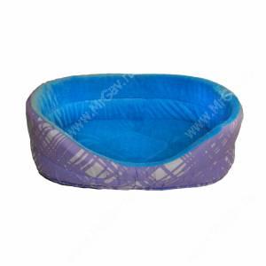 Лежак меховой №4, 53 см*38 см*18 см, голубой орнамент