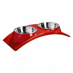 Миска двойная на меланиновой подставке SuperDesign Элеганс, 2*160 мл, красная
