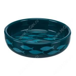 Миска керамическая для короткомордых пород Trixie, 0,3 л, синяя