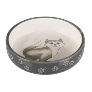 Миска керамическая для кошек короткомордых пород Trixie, 0,3 л, серая