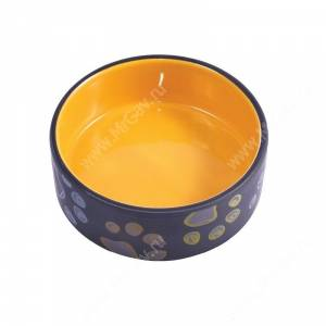 Миска керамическая КерамикАрт, 0,42 л, черно-желтая