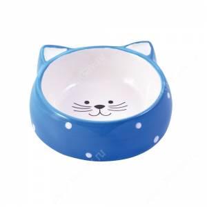 Миска керамическая Мордочка кошки КерамикАрт, 0,25 л, голубая