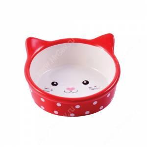 Миска керамическая Мордочка кошки КерамикАрт, 0,25 л, красная