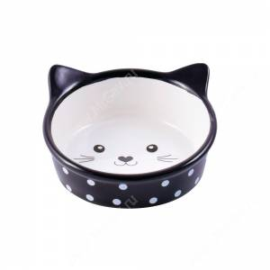 Миска керамическая Мордочка кошки КерамикАрт, 0,25 л, черная