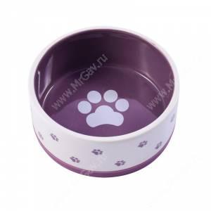 Миска керамическая нескользящая КерамикАрт, 0,36 л, бело-фиолетовая