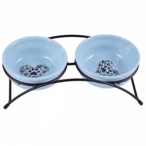 Миски керамические на подставке КерамикАрт, 0,29 л, синие