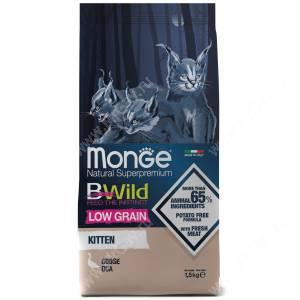 Monge Cat Bwild Low Grain для котят (Гусь), 1,5 кг