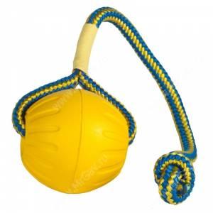 Мяч из вспененной резины на веревке StarMark Swing&Fling Fetch Ball, средний, желтый