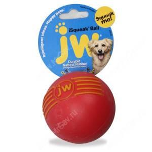 Мячик с пищалкой iSqueak Ball из каучука, большой, красный