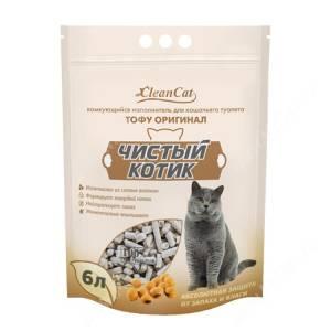 Наполнитель растительный комкующийся Чистый котик Tofu оригинал