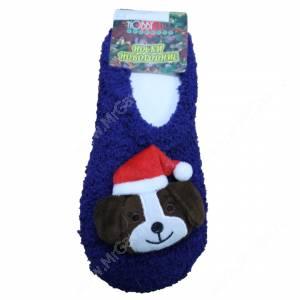 Носки махровые Новогодние собачки, укороченные, синий, р. 36-40