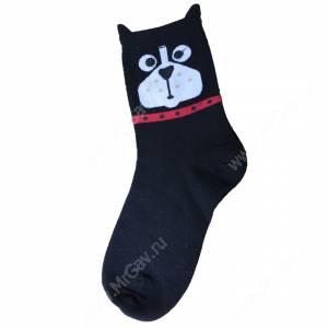 Носки женские Кошечки и собачки, черный, р. 36-40