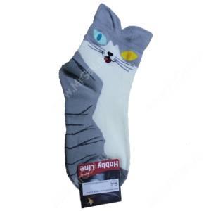 Носки женские Кошка, серый, р. 36-40