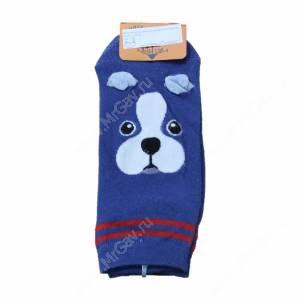 Носки женские Веселый щенок Бостон терьер, синий, р. 36-40