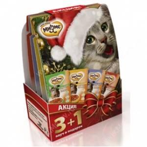 Новогодний набор для кошек паучи Мнямс 3+1