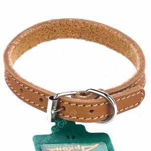 Ошейник кожаный Аркон, 28 см*1,4 см, с подкладкой, бежевый
