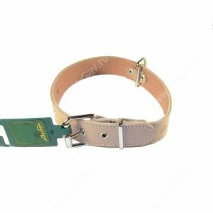 Ошейник кожаный Аркон, 57 см*3,5 см, с подкладкой, бежевый