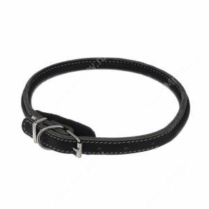 Ошейник кожаный Аркон чау, 45-53 см, черный