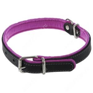 Ошейник кожаный Аркон Фетр, 34 см*1,6 см, с подкладкой, черно-фиолетовый