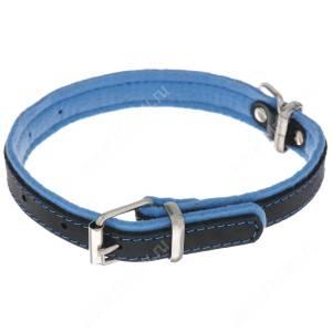 Ошейник кожаный Аркон Фетр, 34 см*1,6 см, с подкладкой, черно-голубой