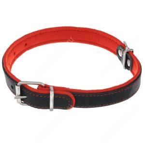 Ошейник кожаный Аркон Фетр, 58 см*3,5 см, с подкладкой, черно-красный