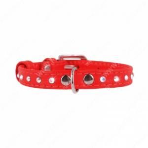 Ошейник кожаный Collar Glamour, 21 см*0,9 см, со стразами, красный