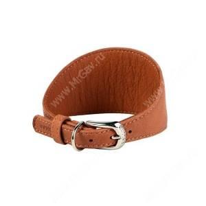 Ошейник кожаный для борзых Collar WAUDOG Soft, 40 см*2 см, коричневый