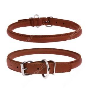 Ошейник кожаный круглый Collar WAUDOG Soft, 41 см*1 см, коричневый