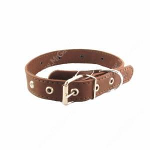 Ошейник кожаный Лаурон 52 см*2,5 см, украшенный, темно-коричневый