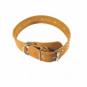 Ошейник кожаный Лаурон, 62 см*3,5 см, украшенный, коричневый