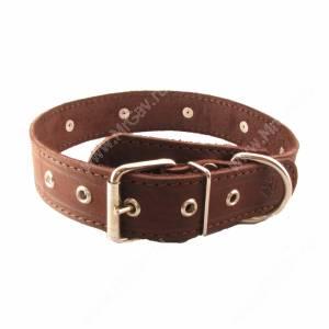 Ошейник кожаный Лаурон, 62 см*3,5 см, украшенный, темно-коричневый